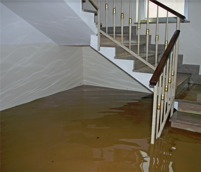 stairwell of a house completely flooded